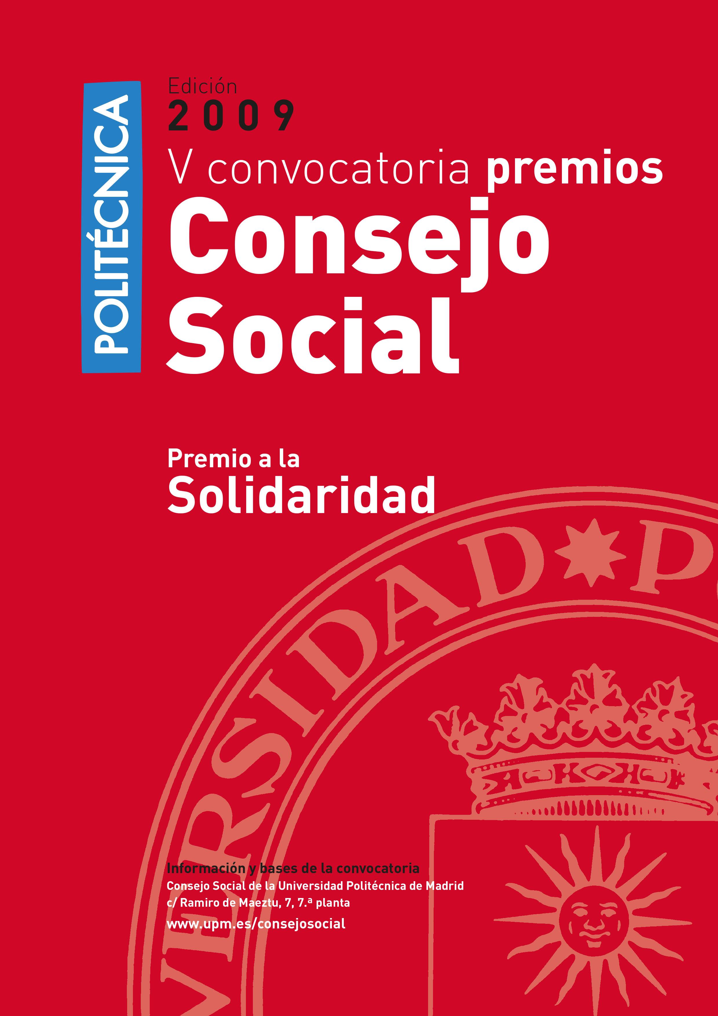 Folleto premios 2009 del Consejo Social de la UPM a la solidaridad